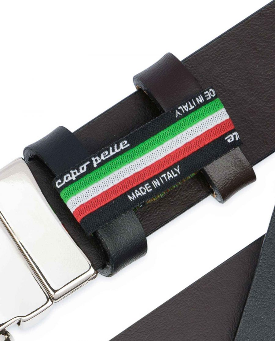 Reversible-Leather-Belt-Mens-Black-Brown-1-1-8-inch-Woven-tag