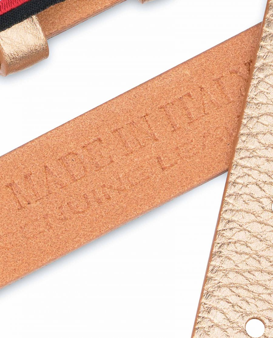 Rose-Gold-Belt-With-No-Buckle-Thin-Leather-Strap-Calfskin