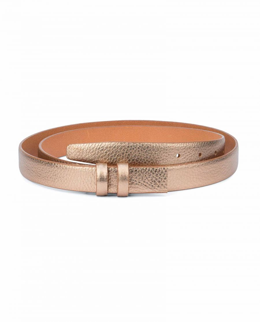 Rose-Gold-Belt-With-No-Buckle-Thin-Leather-Strap-Capo-Pelle