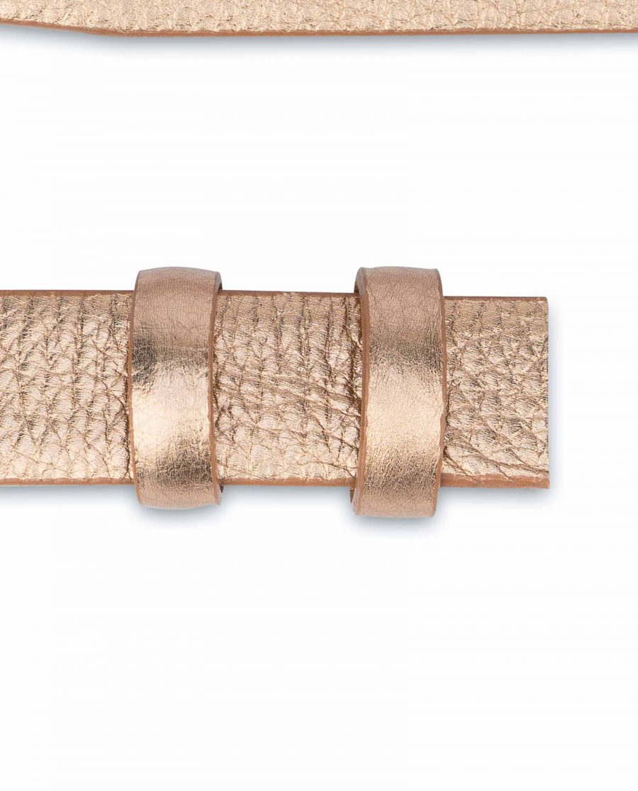 Rose-Gold-Belt-With-No-Buckle-Thin-Leather-Strap-Loops