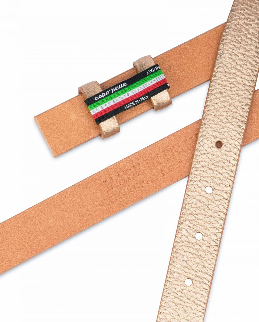 Rose-Gold-Belt-With-No-Buckle-Thin-Leather-Strap-Made-in-Italy