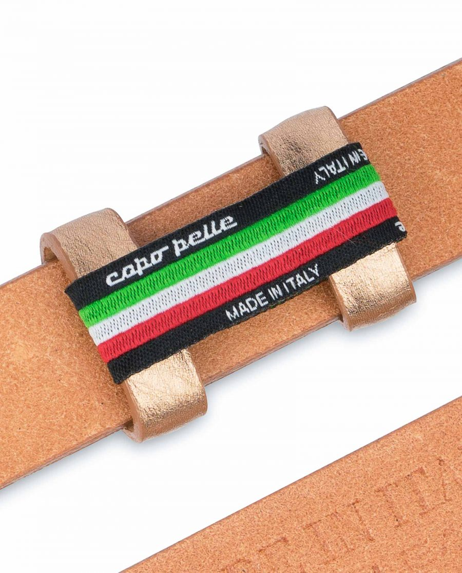 Rose-Gold-Belt-With-No-Buckle-Thin-Leather-Strap-Woven-tag