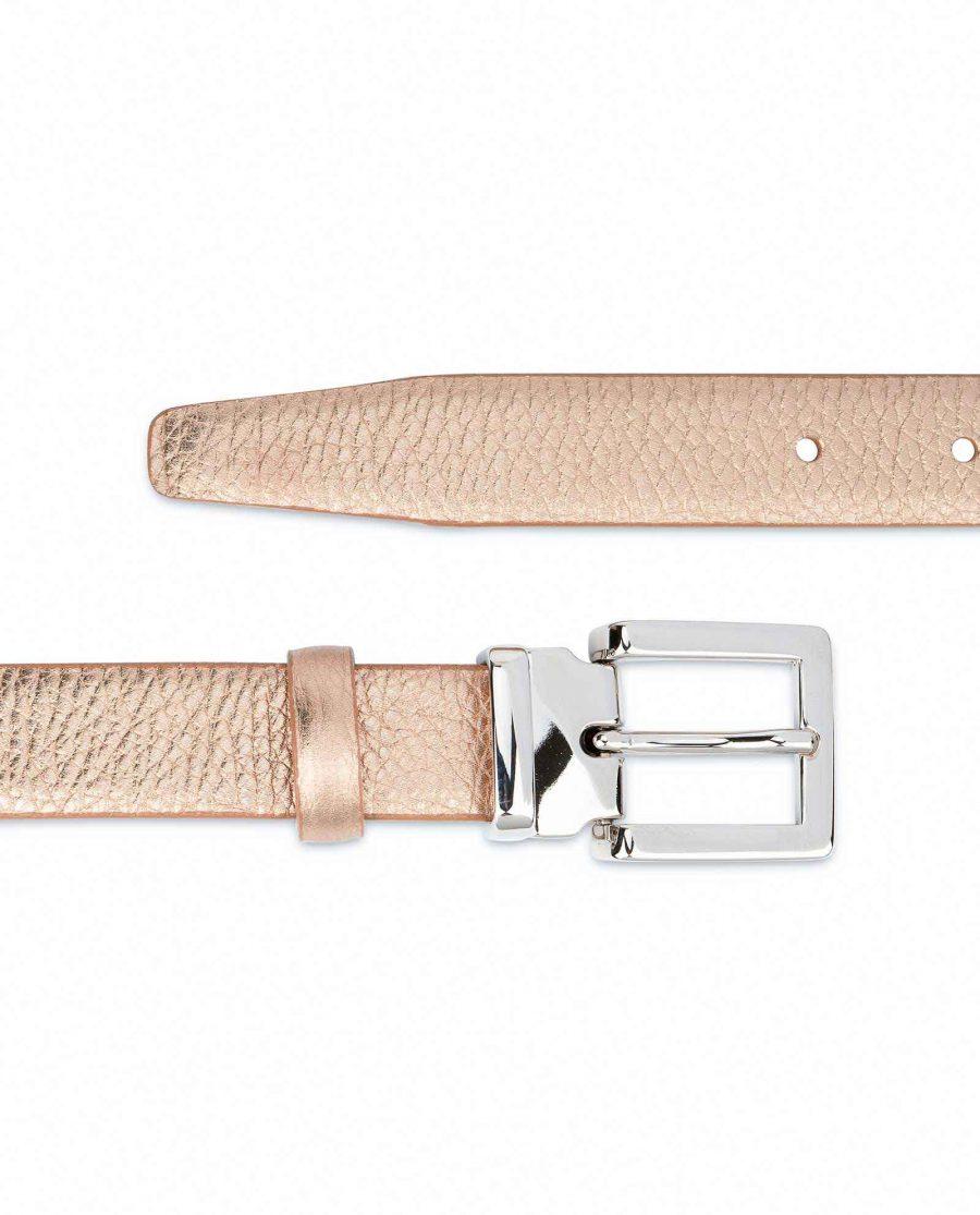 Rose-Gold-Belt-for-Dress-Square-Buckle-Pebbled-leather