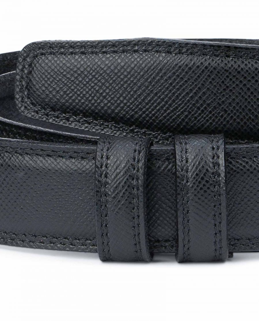 Saffiano-Leather-Belt-Without-Buckle-1-3-8-inch-Black-calfskin