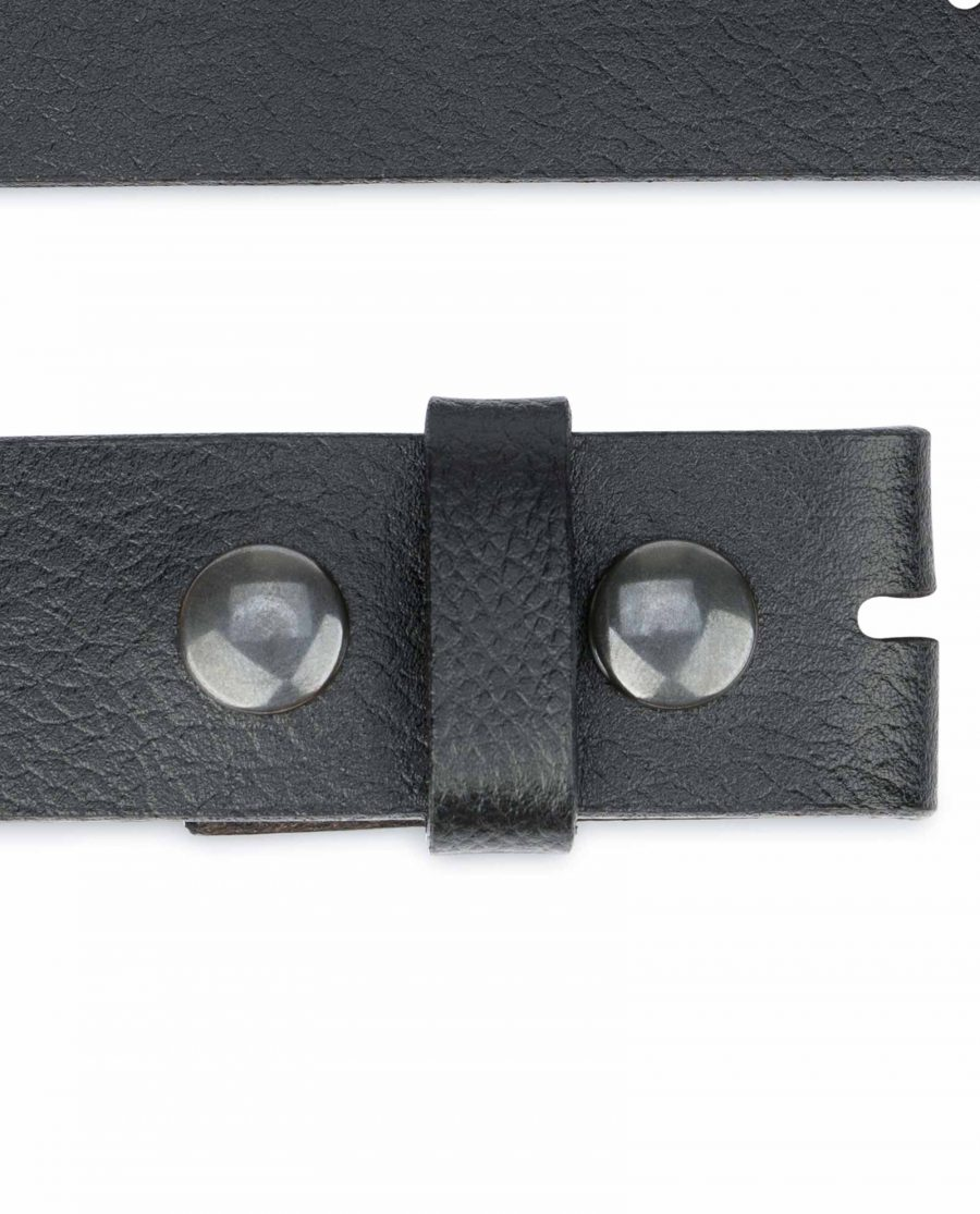 Snap-On-Belt-Without-Buckle-Black-Leather-Strap-1-3-8-inch-Buttons