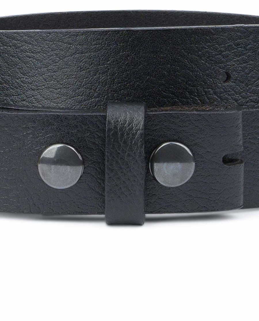 Snap-On-Belt-Without-Buckle-Black-Leather-Strap-1-3-8-inch-YKK-buttons