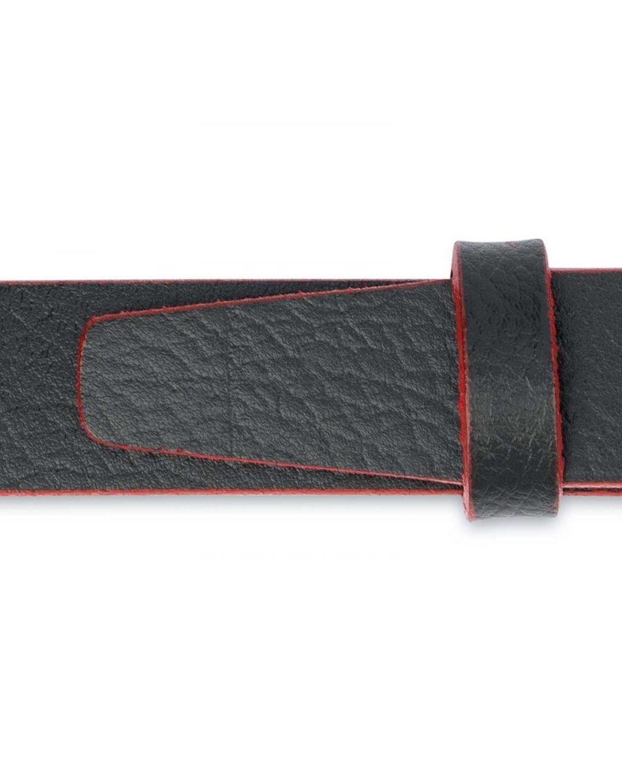 Thin-Mens-Belt-Black-leather-Red-edges-Calfskin