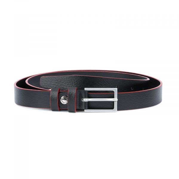 Thin-Mens-Belt-Black-leather-Red-edges-Capo-Pelle