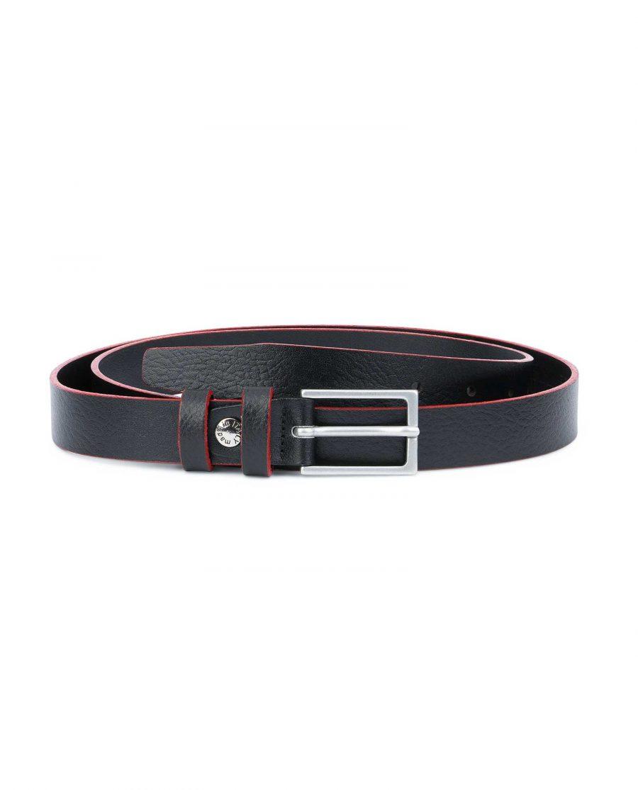 Thin-Mens-Belt-Black-leather-Red-edges-Capo-Pelle