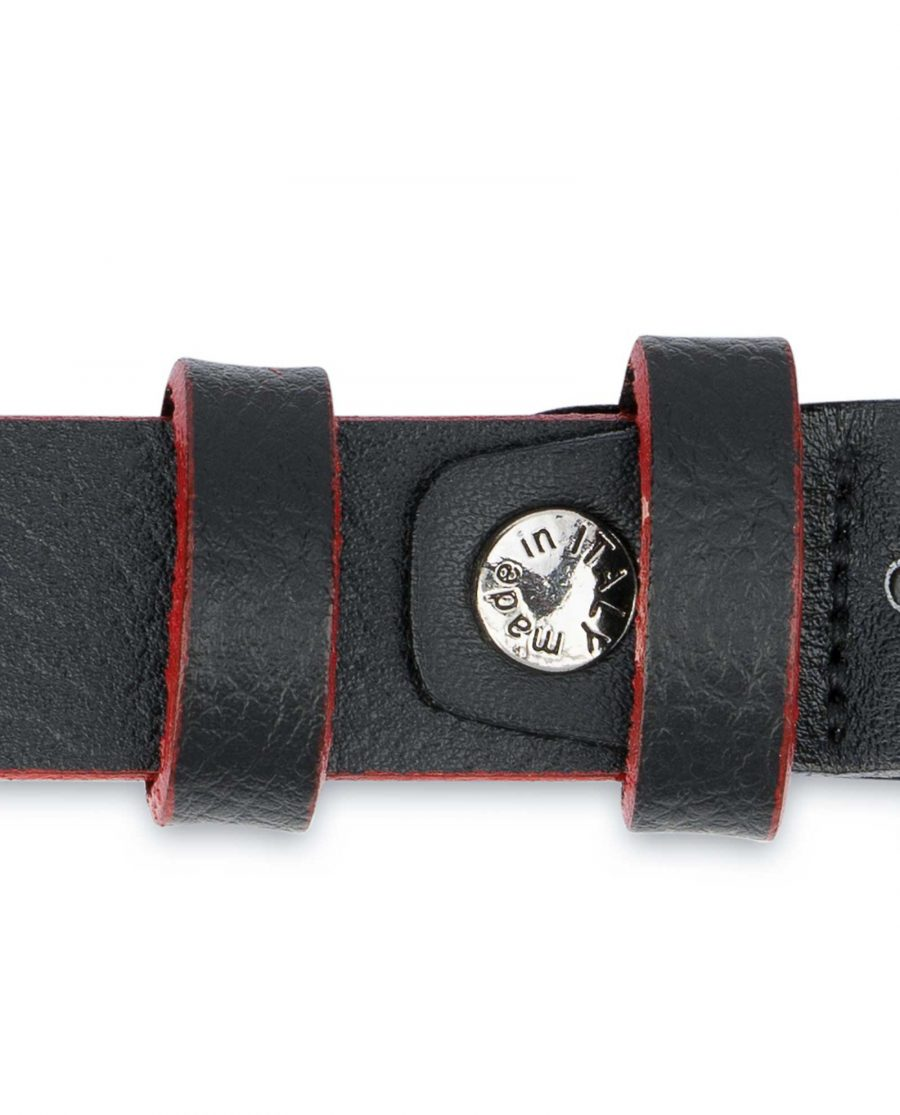 Thin-Mens-Belt-Black-leather-Red-edges-Loops