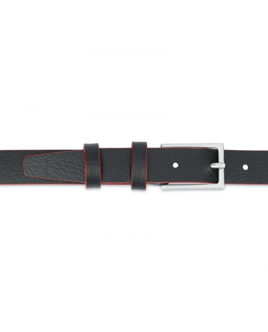 Thin-Mens-Belt-Black-leather-Red-edges-On-trousers