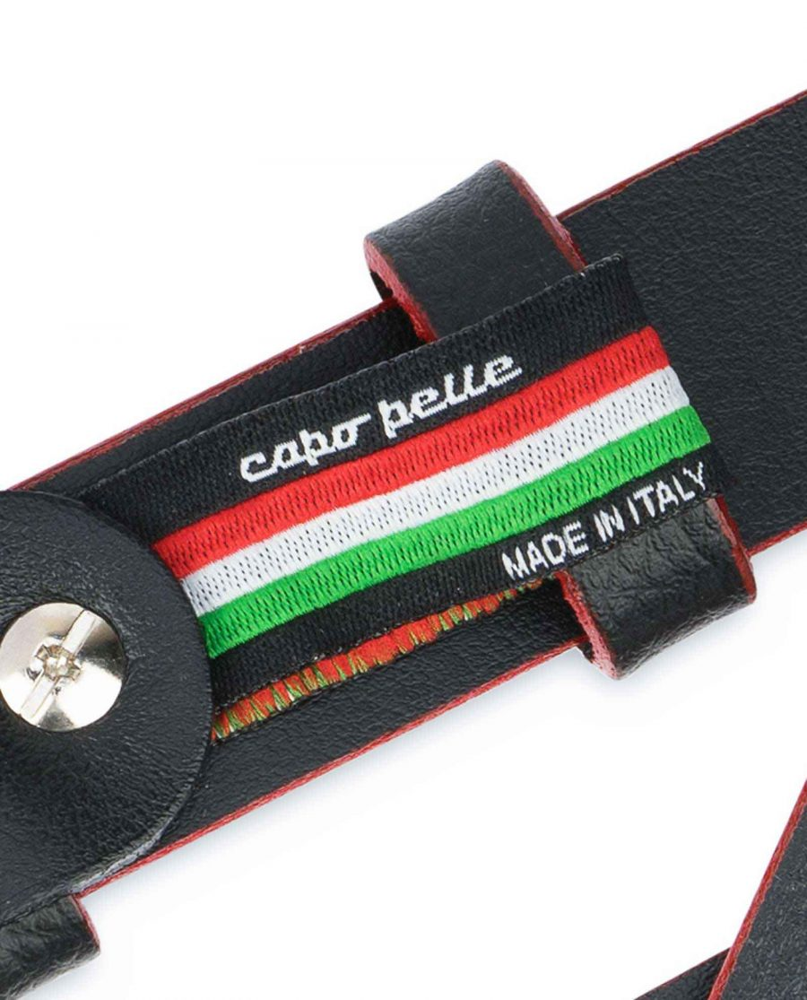 Thin-Mens-Belt-Black-leather-Red-edges-Woven-tag