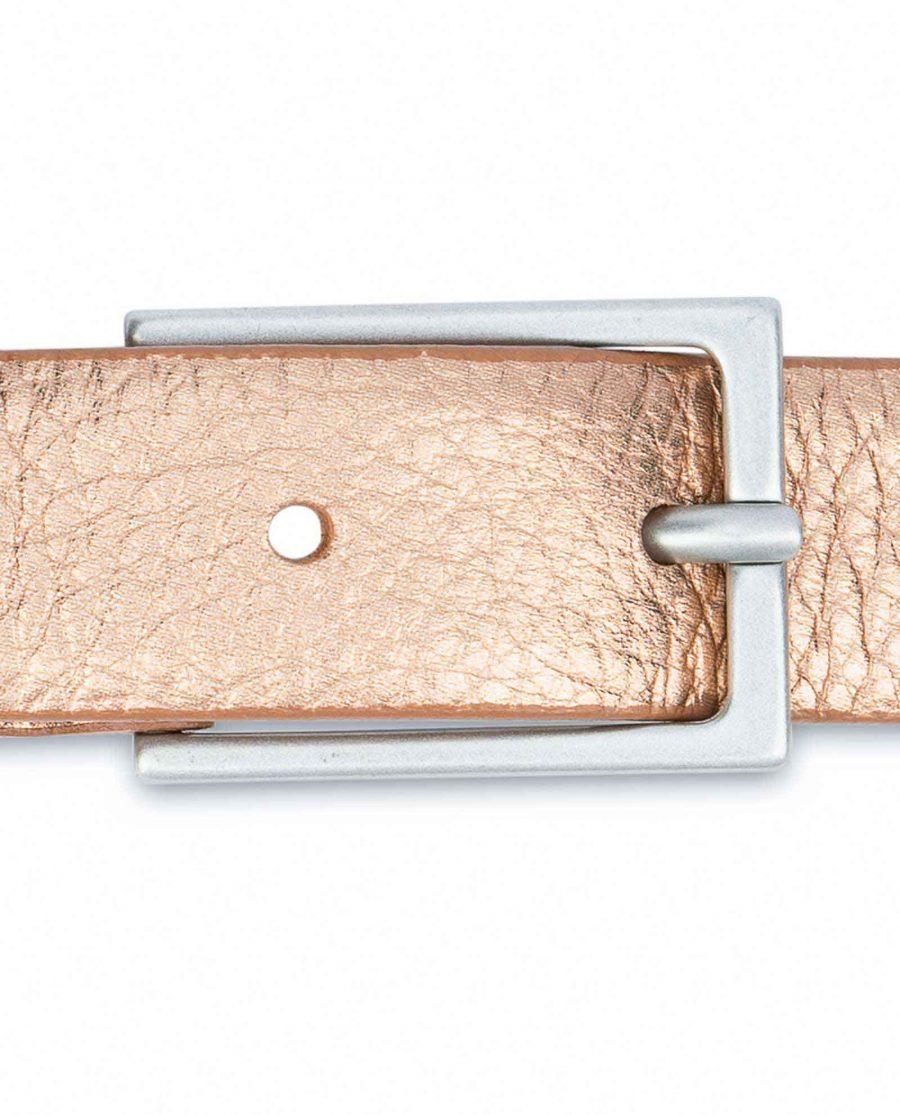 Wedding-Dress-Belt-Rose-Gold-Thin-1-inch-Silver-matte-buckle