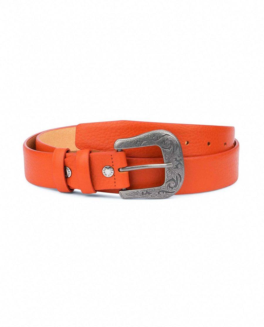 Western-Belt-For-Women-Soft-Orange-Leather-Capo-Pelle