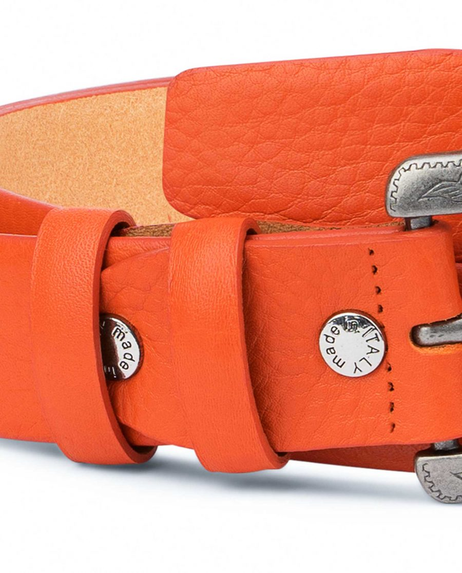Western-Belt-For-Women-Soft-Orange-Leather-Genuine-Leather