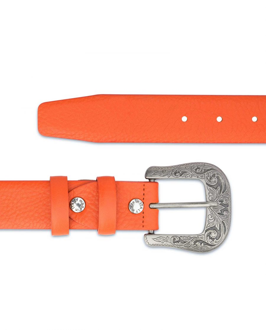 Western-Belt-For-Women-Soft-Orange-Leather-Italian-leather