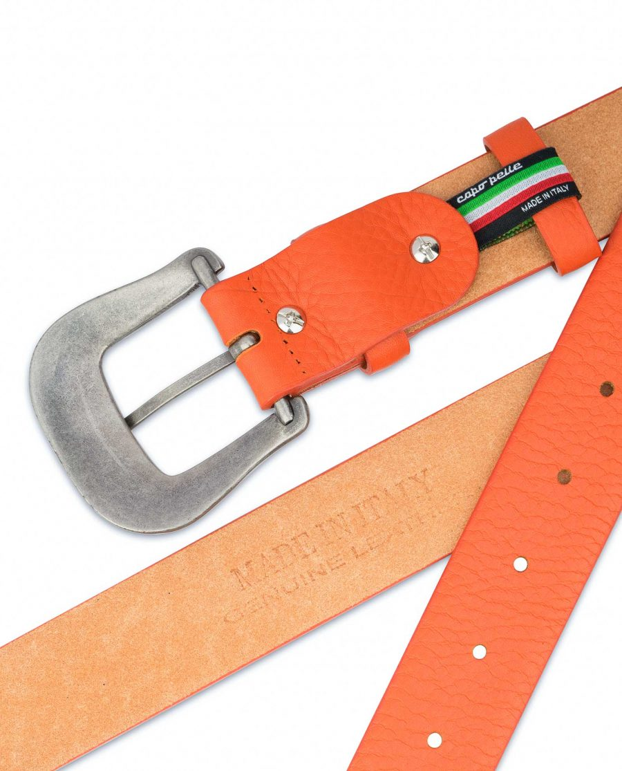 Western-Belt-For-Women-Soft-Orange-Leather-Real-calfskin