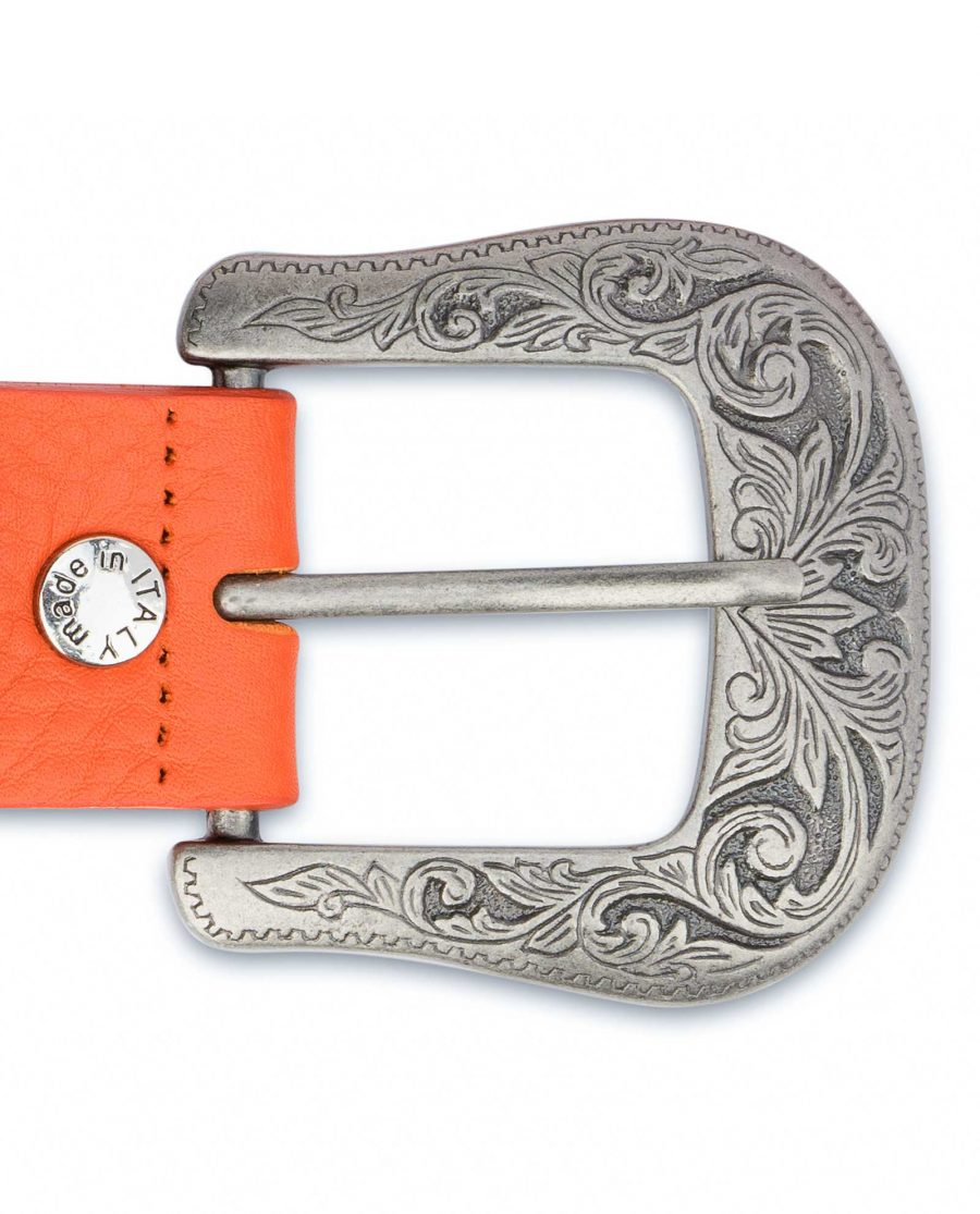 Western-Belt-For-Women-Soft-Orange-Leather-With-buckle