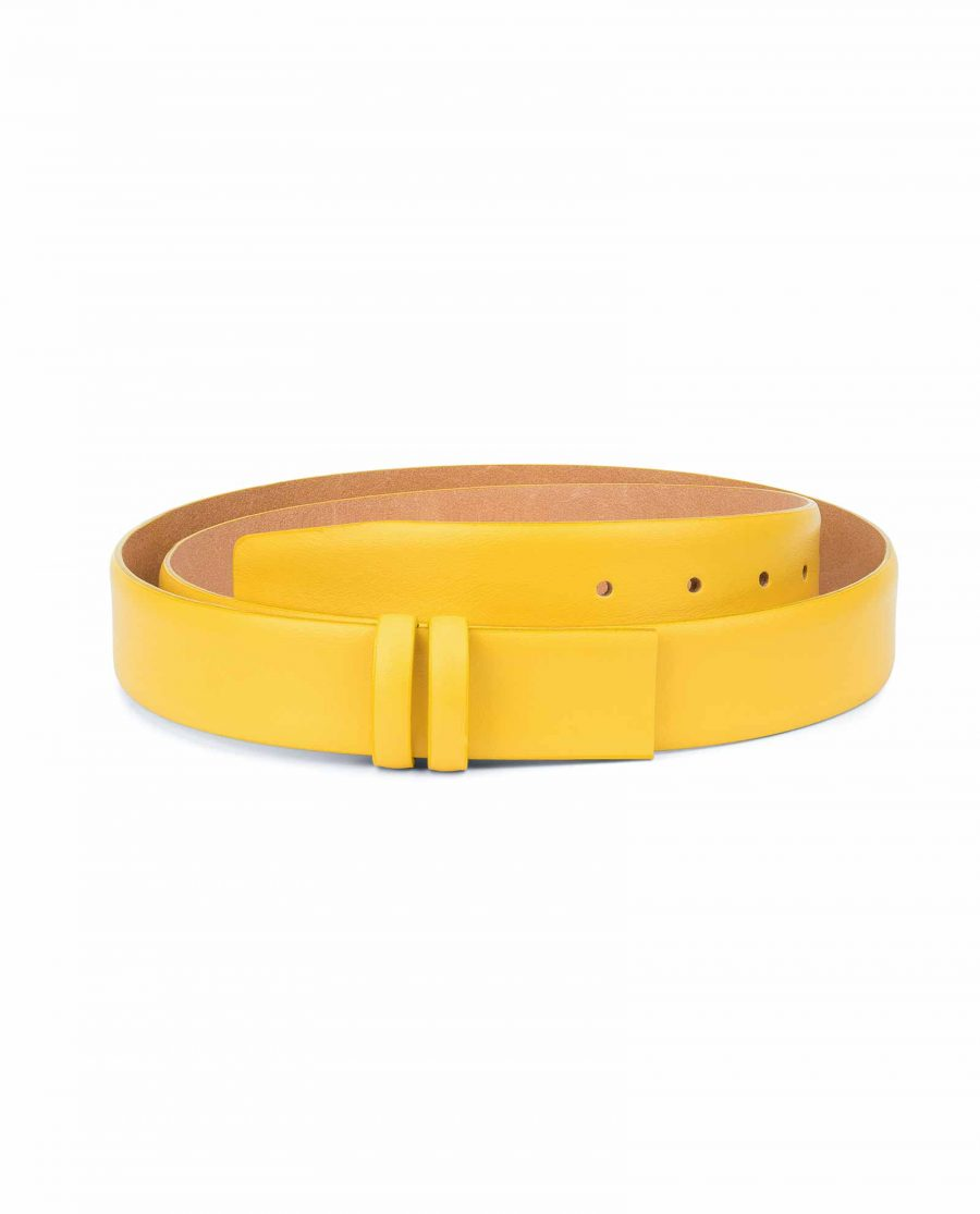 Yellow-Leather-Belt-Strap-Without-Buckle-Capo-Pelle