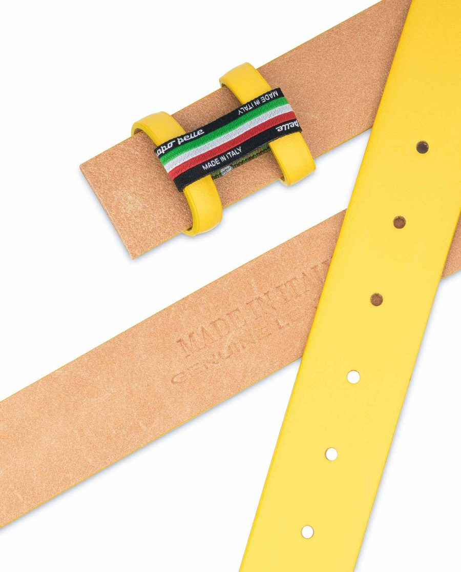Yellow-Leather-Belt-Strap-Without-Buckle-Heat-stamp
