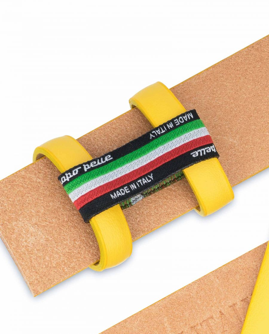Yellow-Leather-Belt-Strap-Without-Buckle-Holders