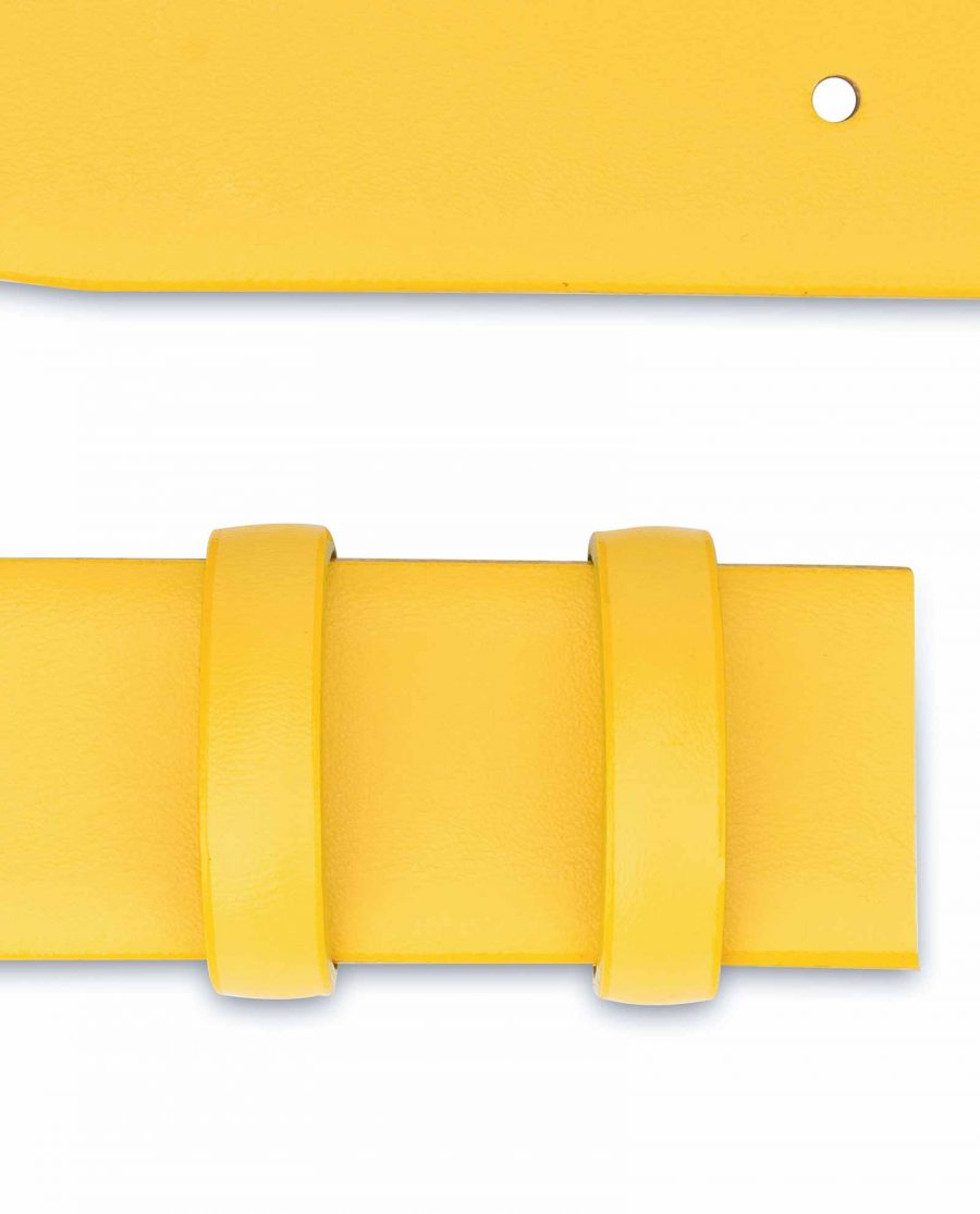Yellow-Leather-Belt-Strap-Without-Buckle-Loops