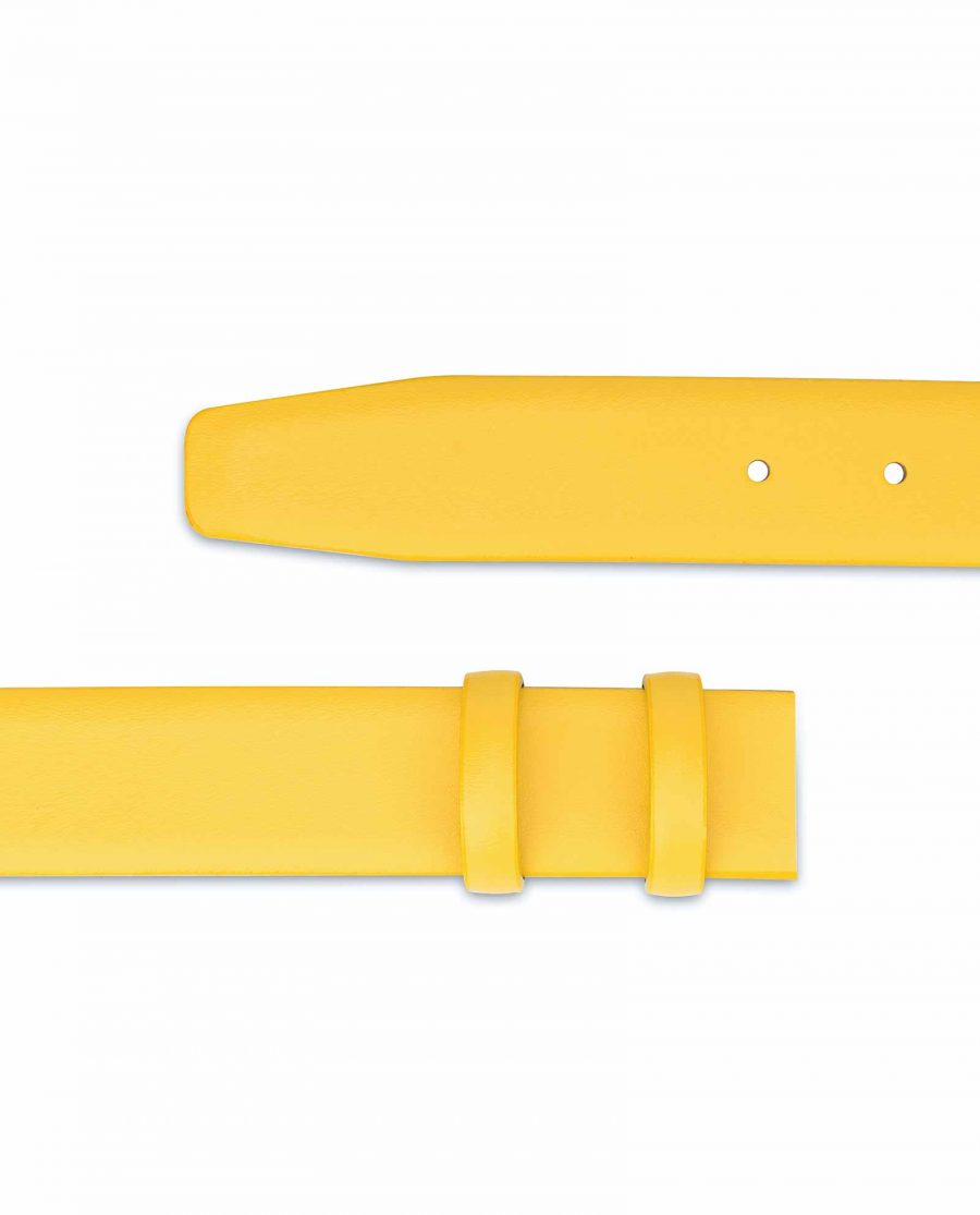 Yellow-Leather-Belt-Strap-Without-Buckle-Replacement-Strap