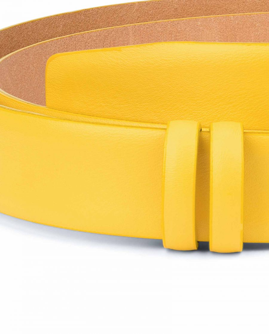 Yellow-Leather-Belt-Strap-Without-Buckle-Smooth