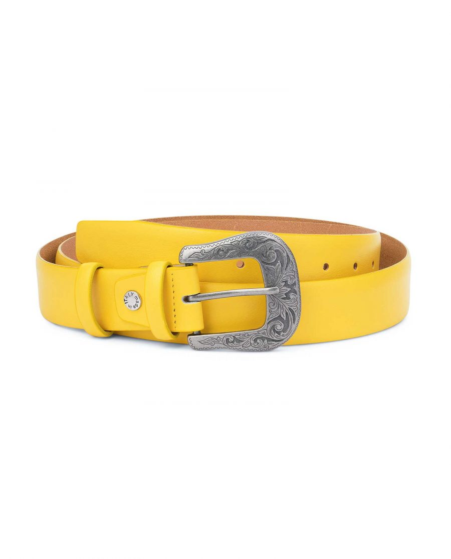 Yellow-Western-Belt-For-Ladies-With-Buckle-Capo-Pelle