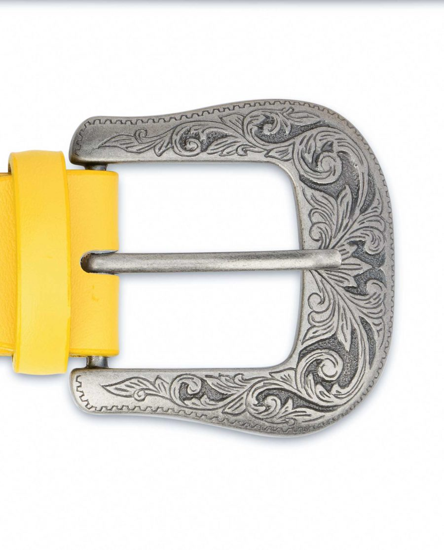 Yellow-Western-Belt-For-Ladies-With-Buckle-Cowgirl