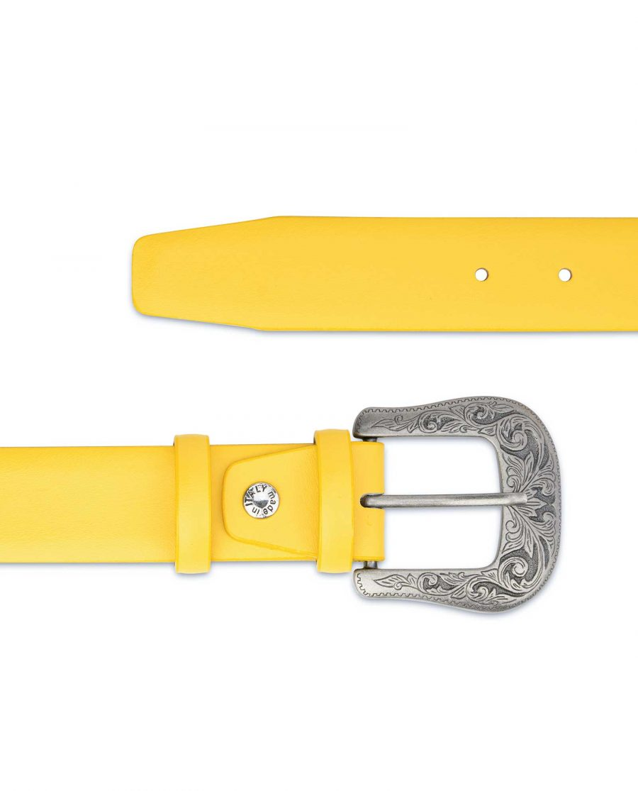 Yellow-Western-Belt-For-Ladies-With-Buckle-Genuine-Leather