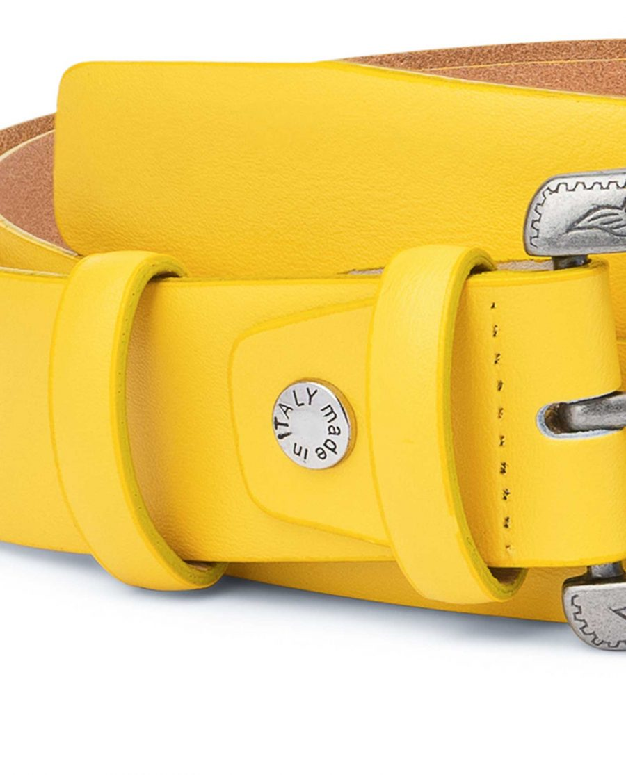 Yellow-Western-Belt-For-Ladies-With-Buckle-Screw