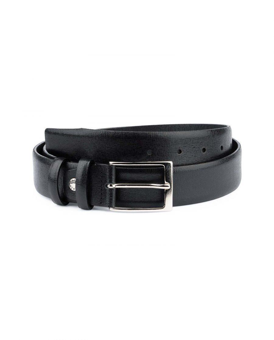 Black-Mens-Dress-Belt-Saffiano-Leather-Capo-Pelle