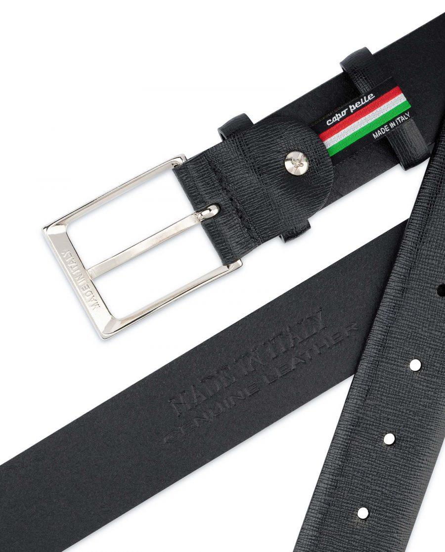Black-Mens-Dress-Belt-Saffiano-Leather-Hot-stamp