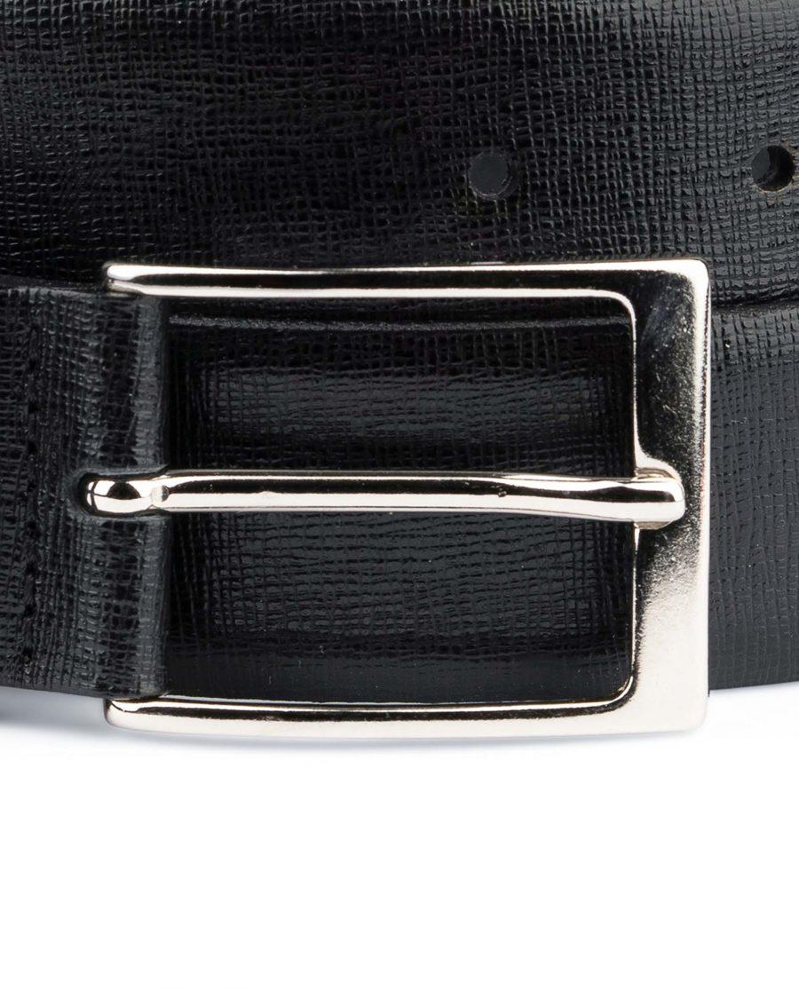 Black-Mens-Dress-Belt-Saffiano-Leather-Nickel-silver-buckle