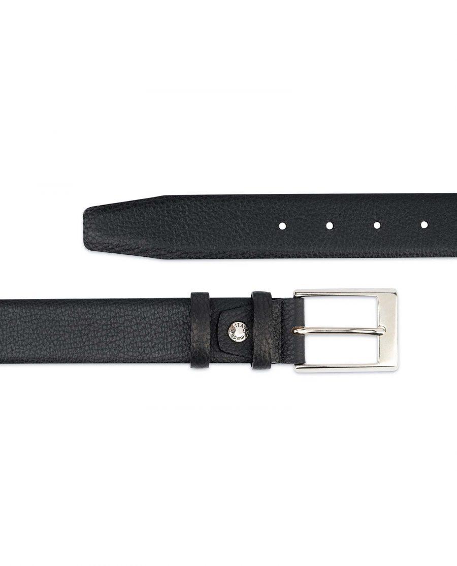 Black-Mens-Dress-Belt-Soft-Pebble-Leather-Both-ends