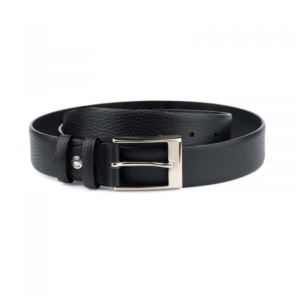 Black-Mens-Dress-Belt-Soft-Pebble-Leather-Capo-Pelle