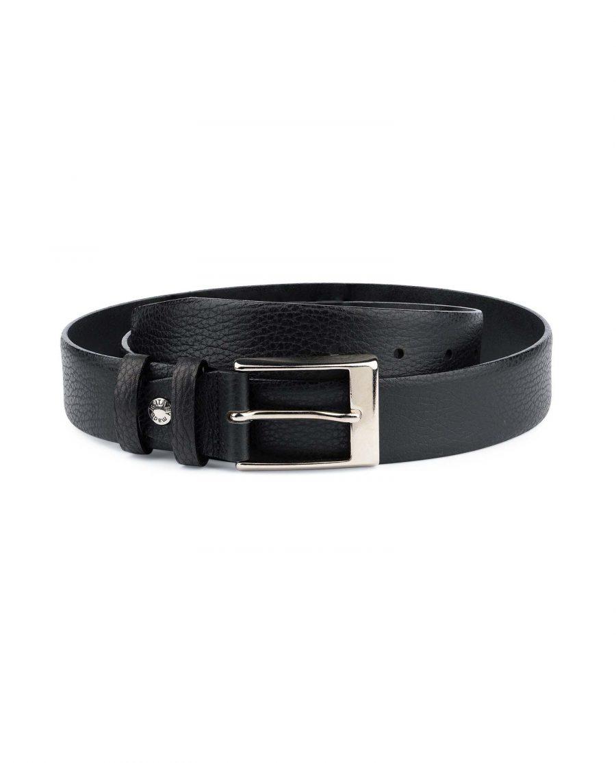 Black-Mens-Dress-Belt-Soft-Pebble-Leather-Capo-Pelle