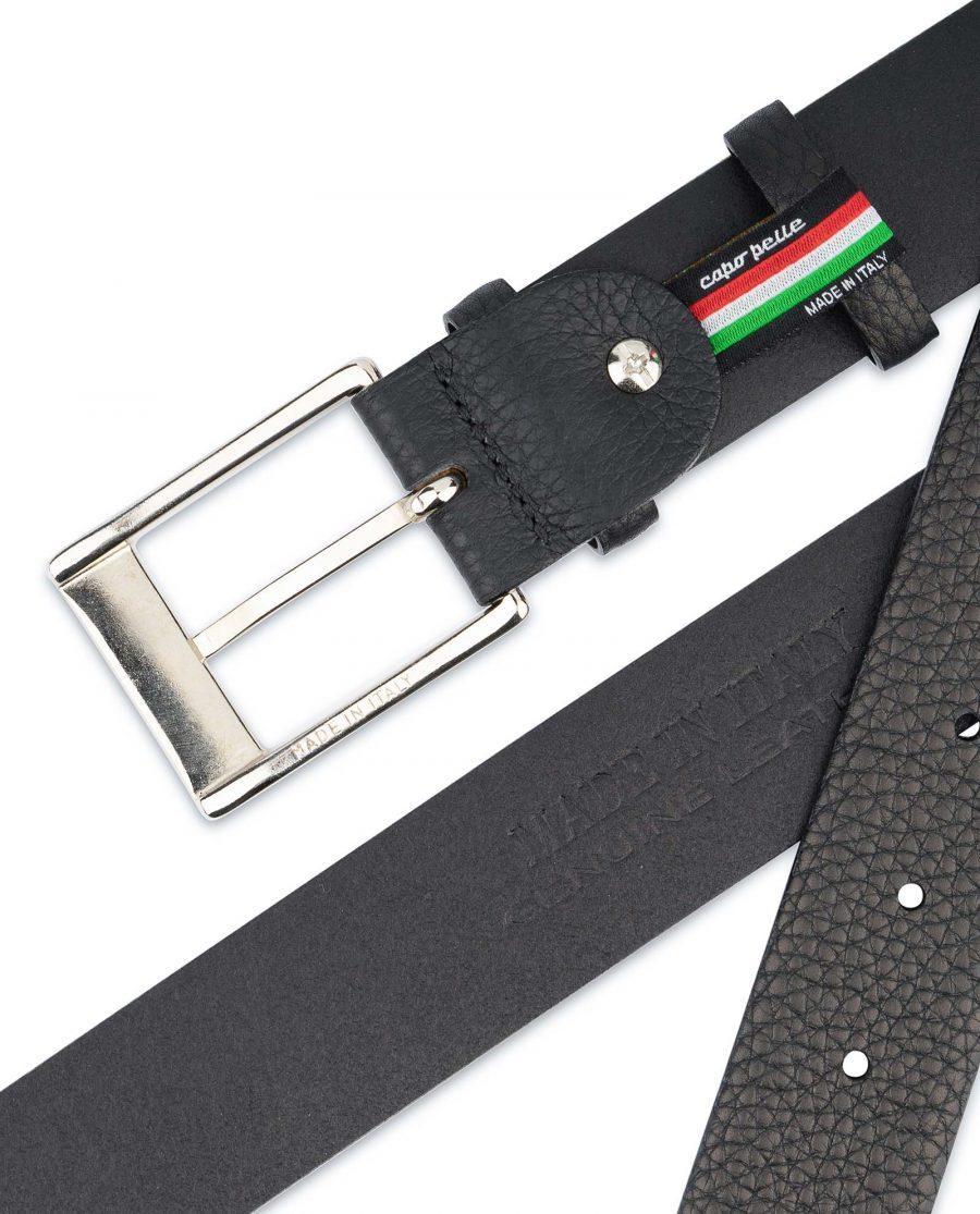 Black-Mens-Dress-Belt-Soft-Pebble-Leather-Genuine-leather