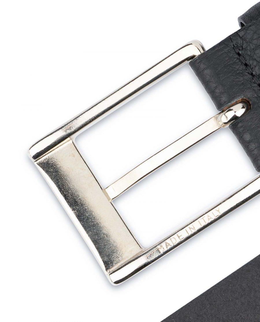 Black-Mens-Dress-Belt-Soft-Pebble-Leather-Italian-buckle