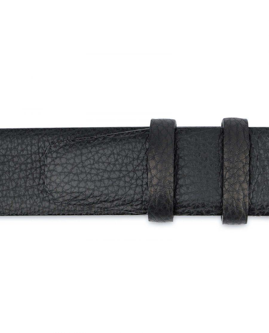 Black-Mens-Dress-Belt-Soft-Pebble-Leather-Loops