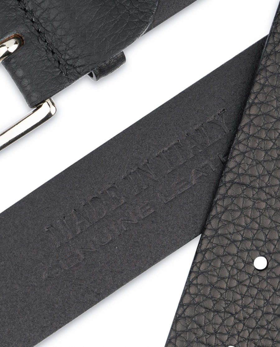 Black-Mens-Dress-Belt-Soft-Pebble-Leather-Made-in-Italy
