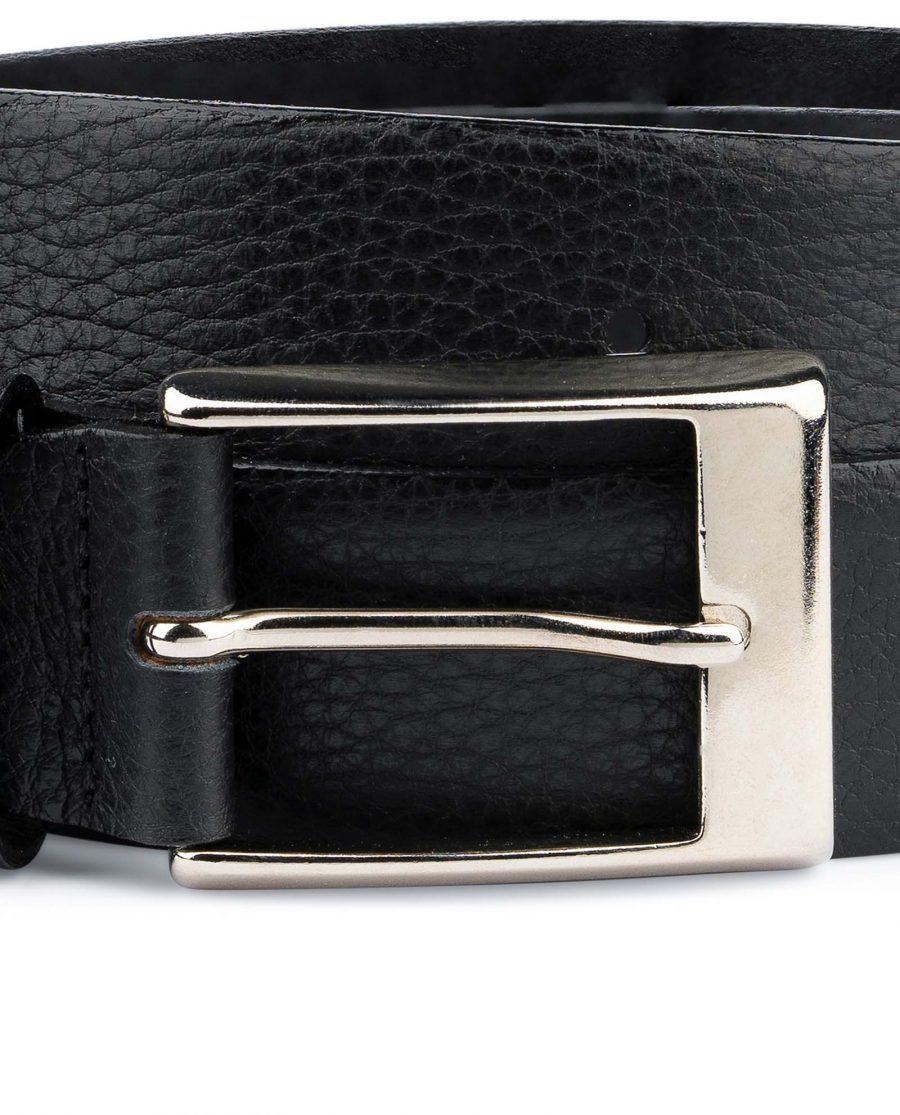 Black-Mens-Dress-Belt-Soft-Pebble-Leather-Nickel-silver