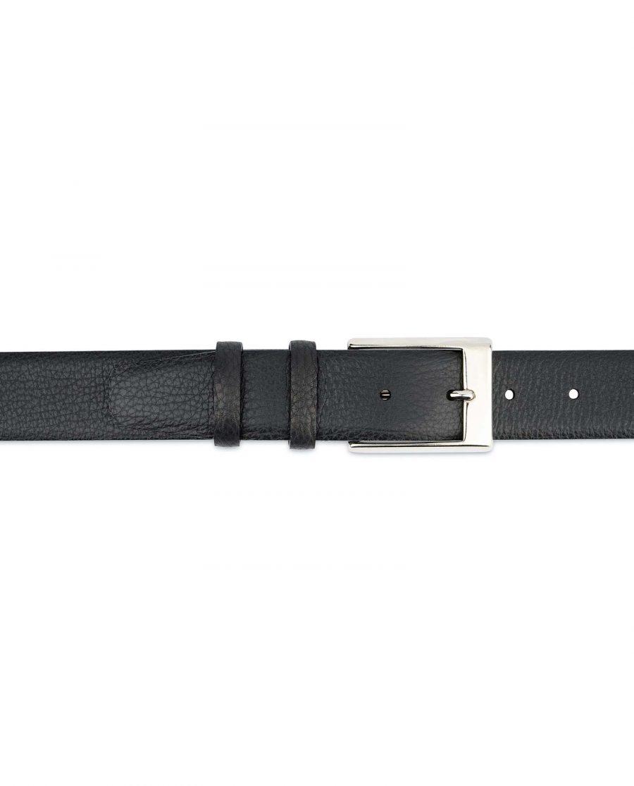 Black-Mens-Dress-Belt-Soft-Pebble-Leather-On-pants