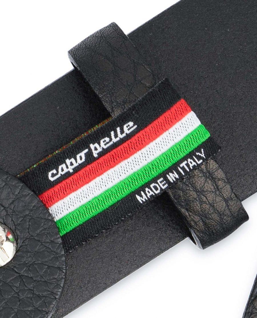 Black-Mens-Dress-Belt-Soft-Pebble-Leather-Woven-label