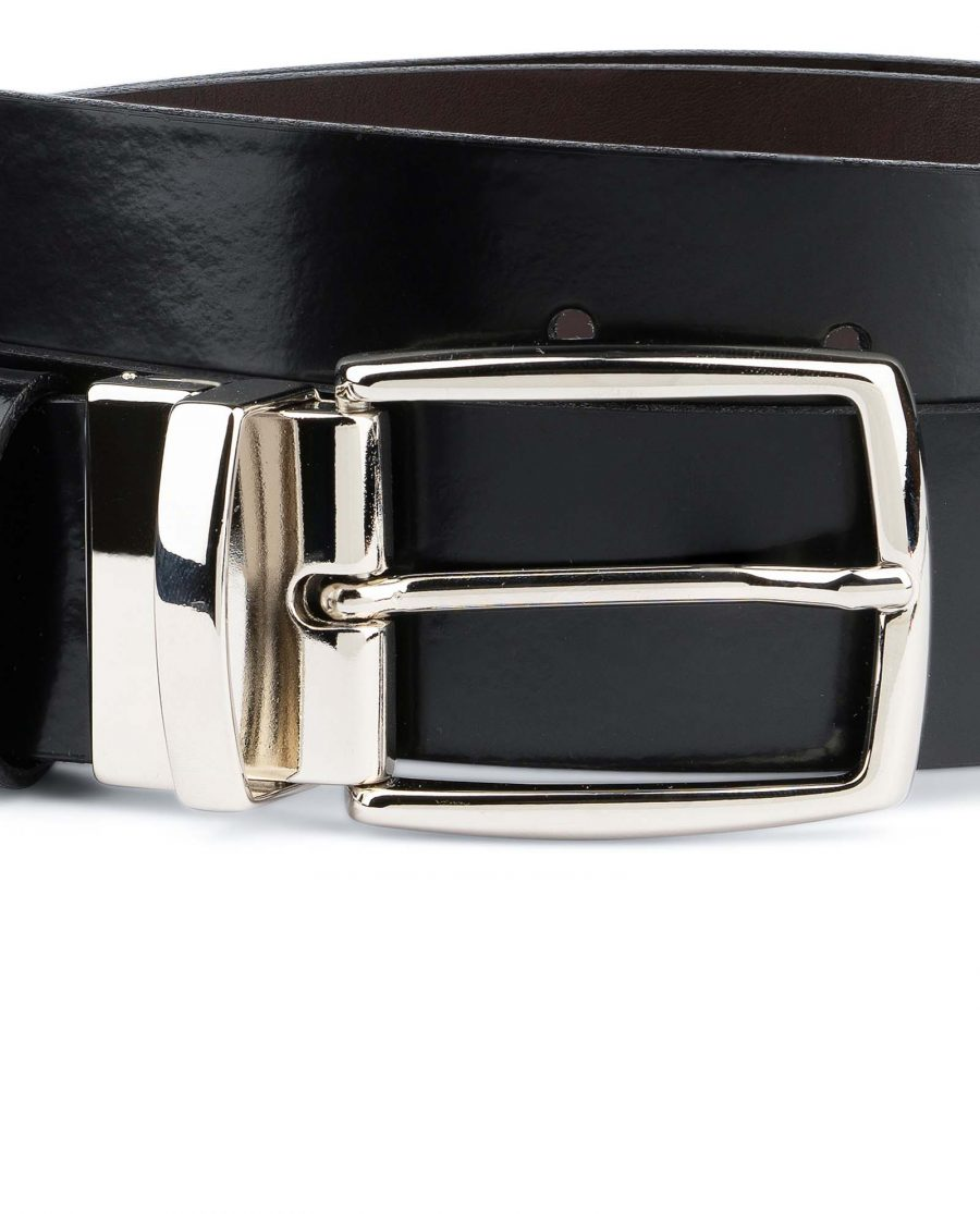 Black-Patent-Leather-Belt-Mens-Reversible-Italian-buckle