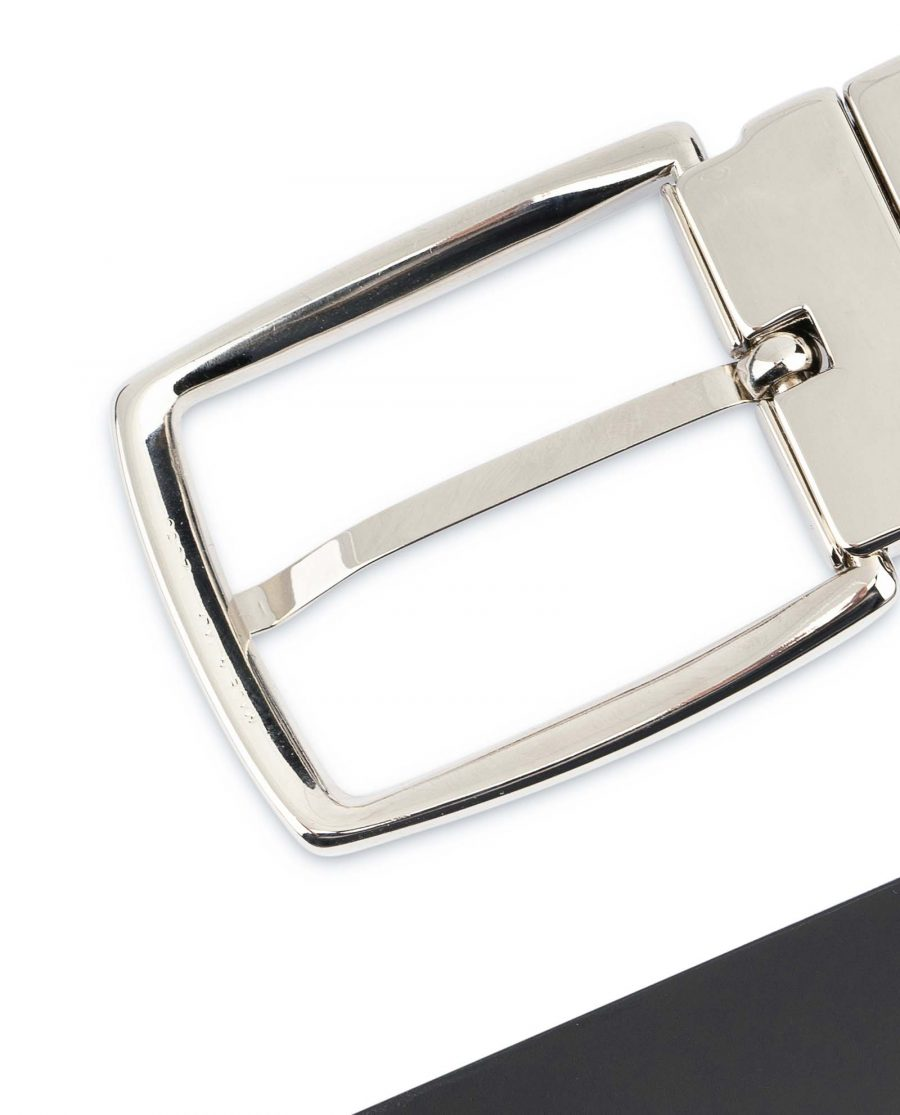 Black-Patent-Leather-Belt-Mens-Reversible-Nickel-silver