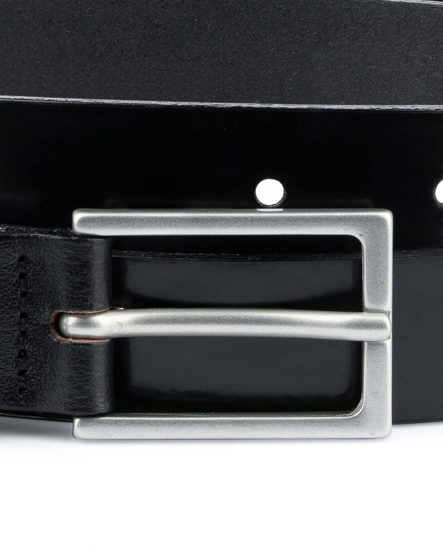 Black-Patent-Leather-Belt-Thin-1-inch-Silver-matte-buckle