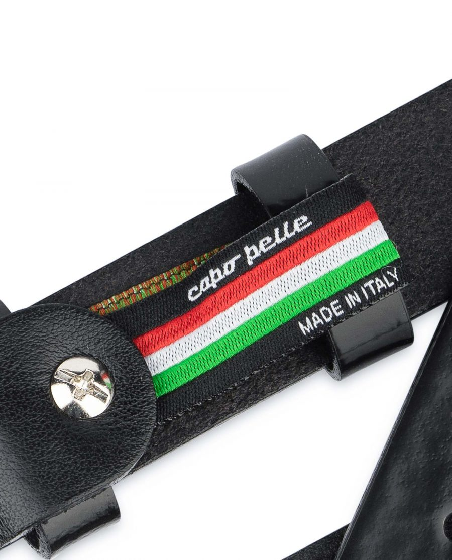 Black-Patent-Leather-Belt-Thin-1-inch-Woven-tag