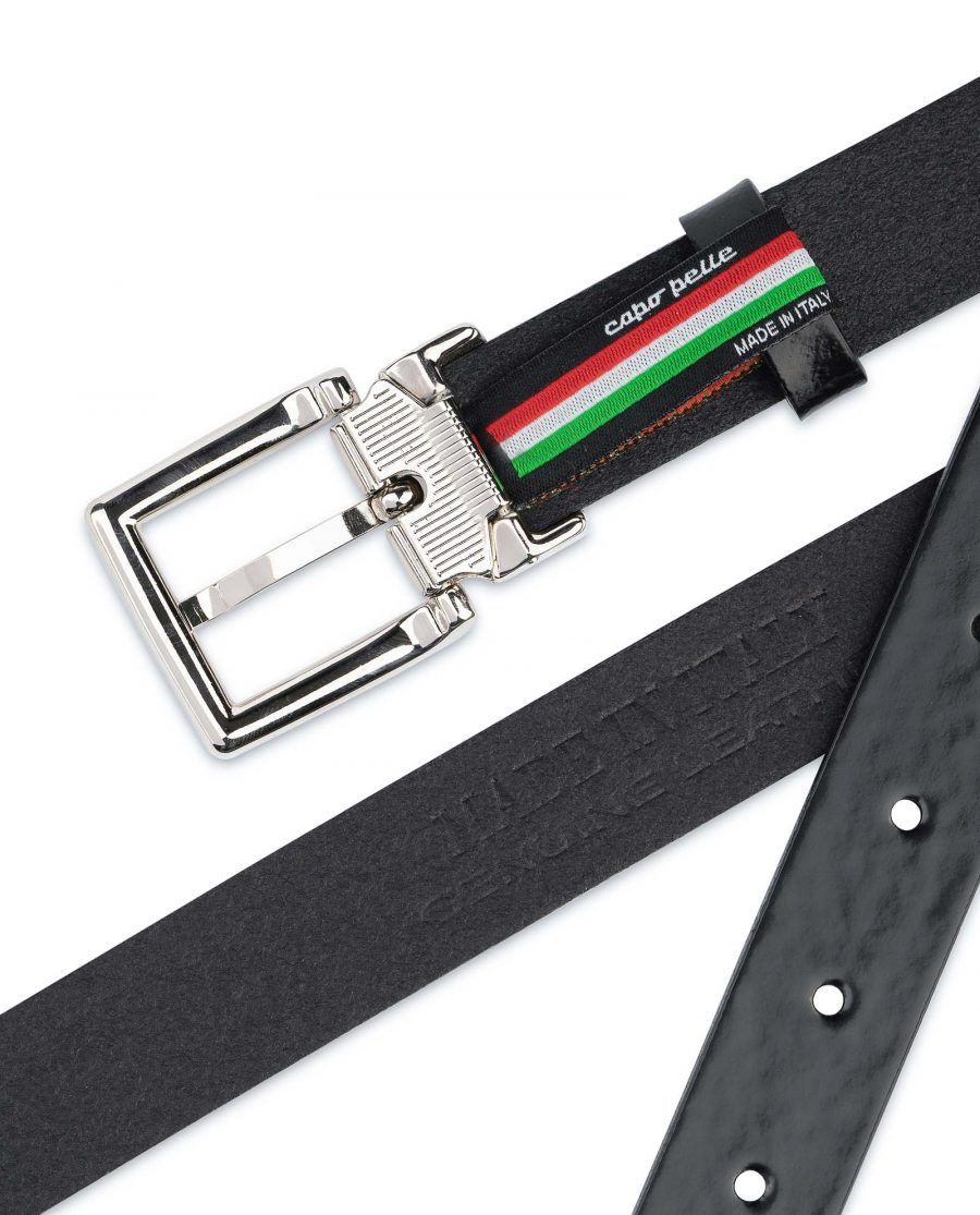 Black-Patent-Leather-Belt-Womens-1-inch-Genuine